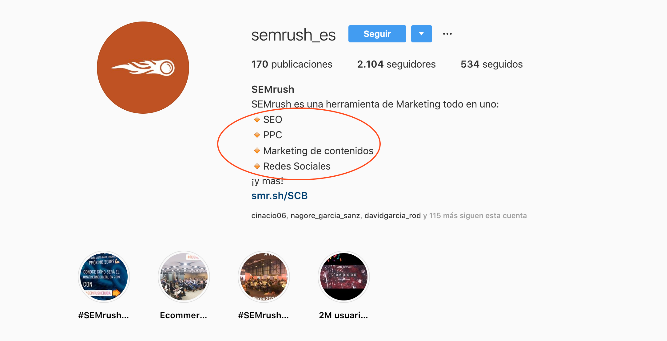 Bios para perfiles de redes sociales - Caso SEMrush