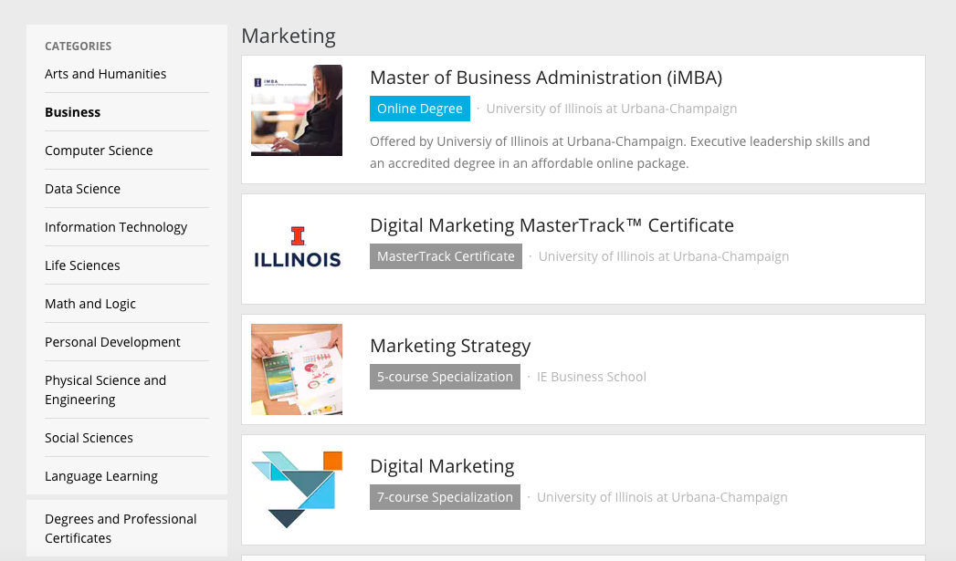 Corsi online per il web marketing: Coursera