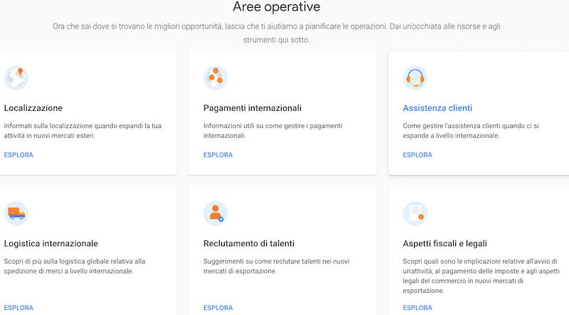 aree operative suggerite da market finder di google