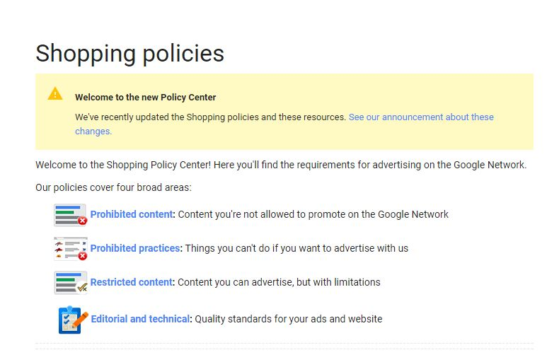 Google Merchant Center policies