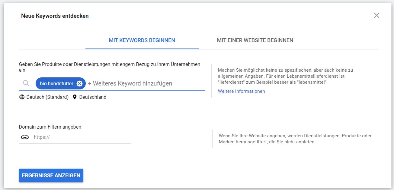 Google Ads Keyword-Planer: Neue Keywords entdecken