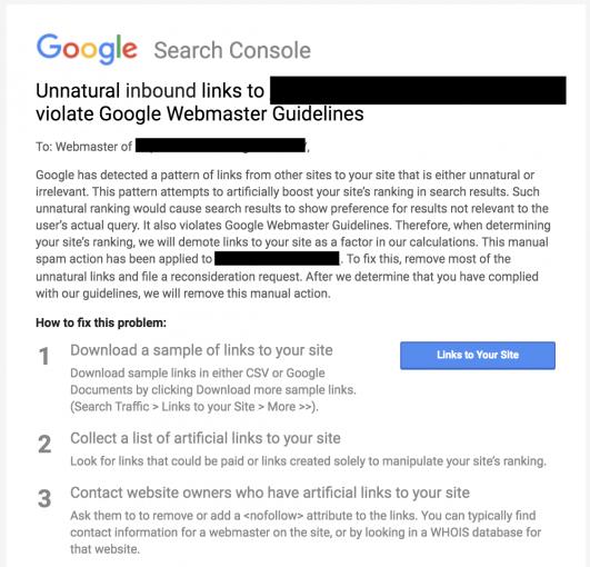 Une notification de Google à propos d'une pénalité pour liens entrants artificiels