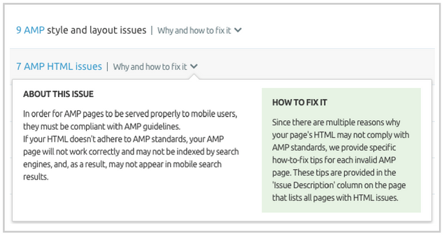 SEMrush Site Audit: AMP Mistakes