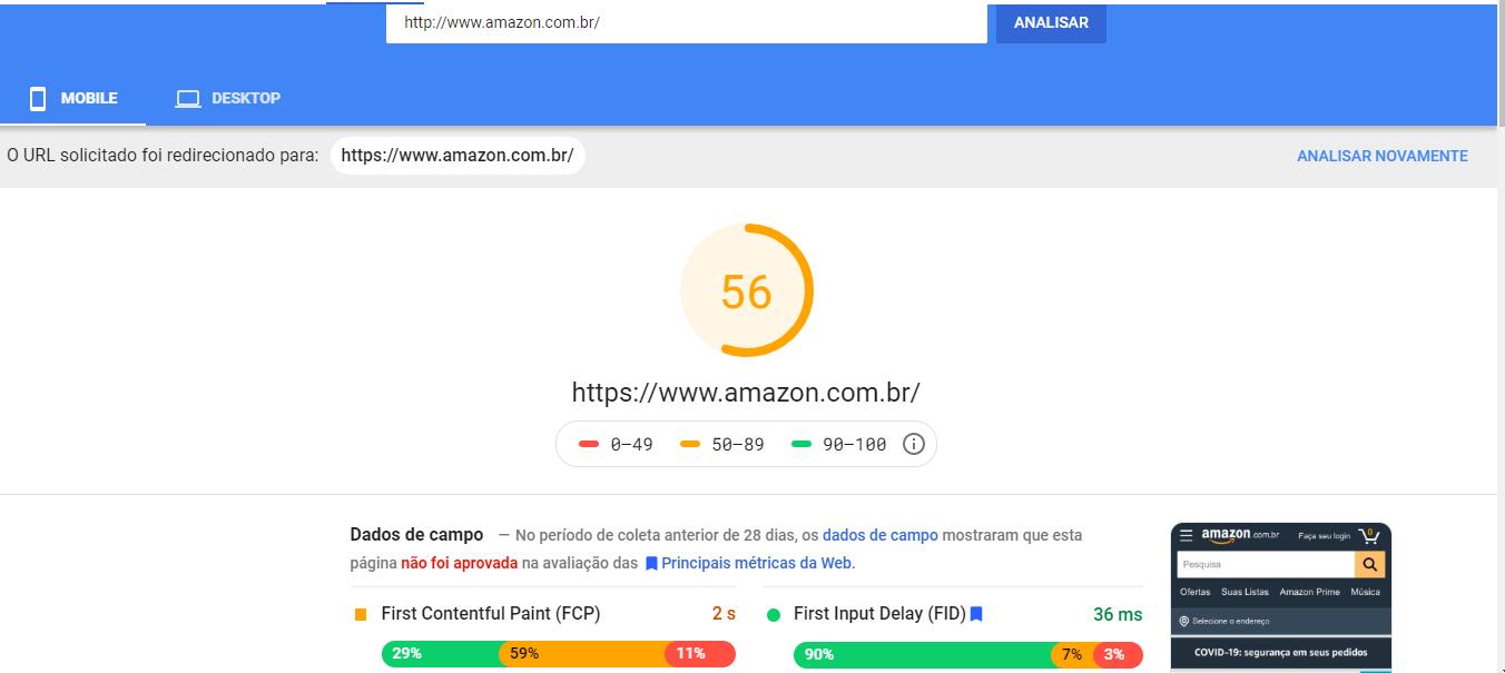 velocidade do site amazon