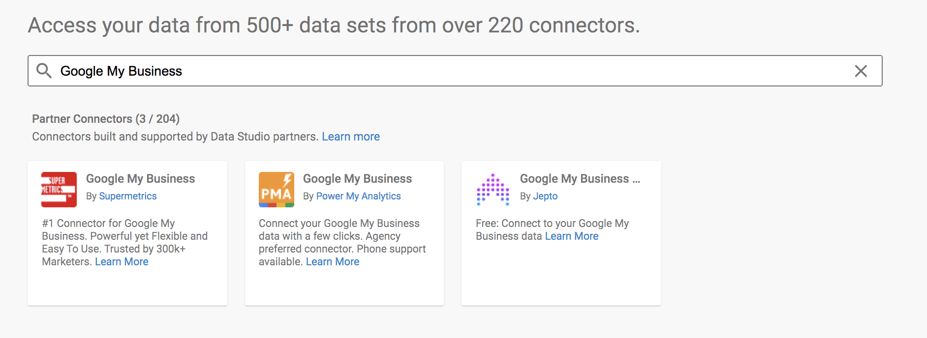 Google my business connector to Google Data Studio