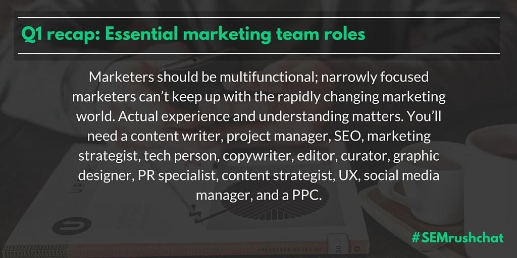 Essential marketing team roles