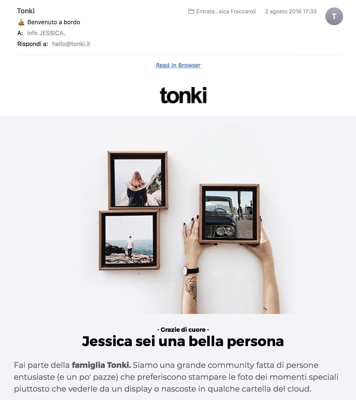 Esempio di microcopy che funziona: E-mail di iscrizione da Tonki