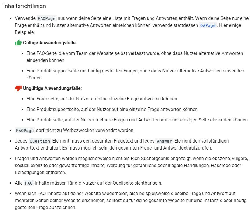 Google Inhaltsrichtlinien für FAQ-Markup