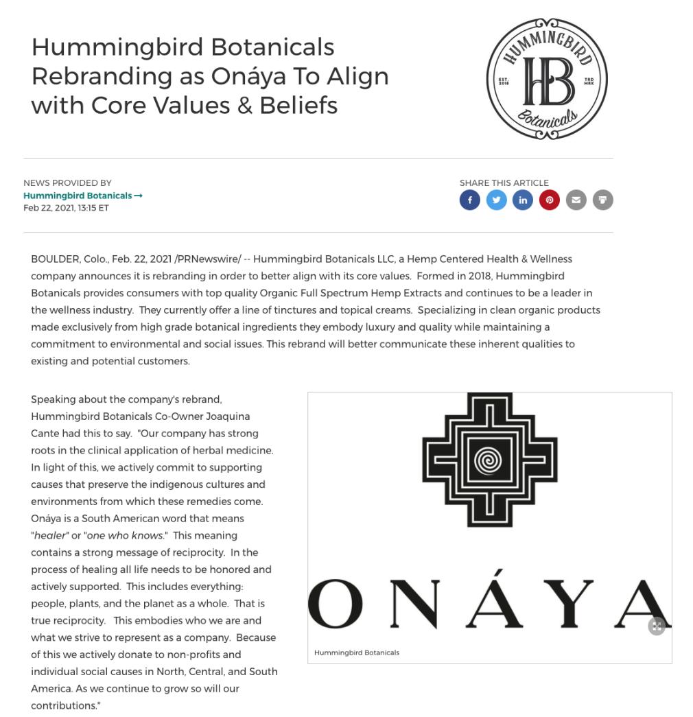 Hummingbird Botanicals rebranding as Onaya