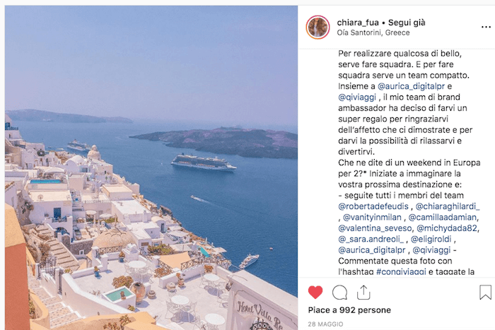 Giveaway su Instagram organizzato da Aurica Digital Agency per QiViaggi