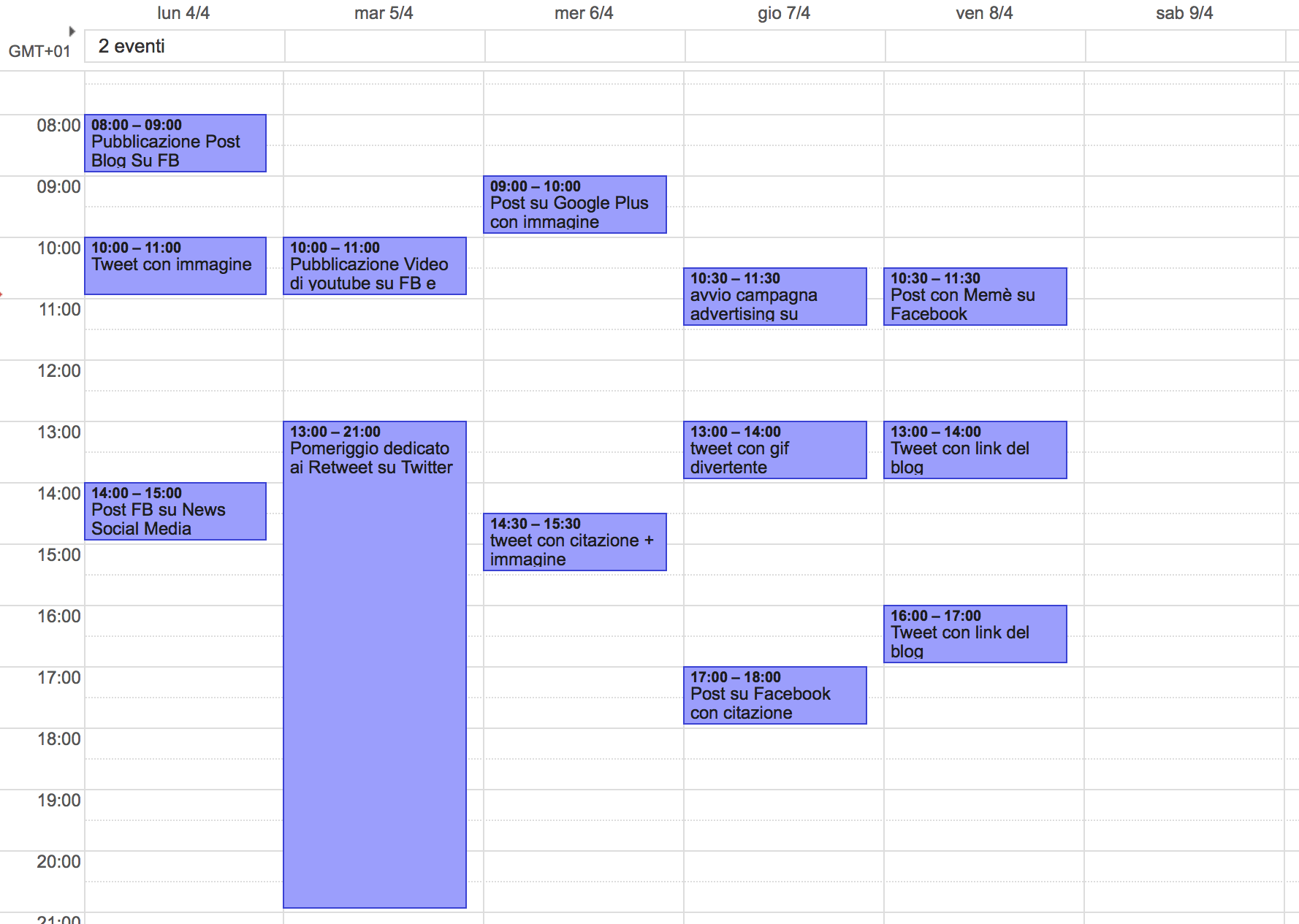 Piano editoriale social media: un esempio di calendario