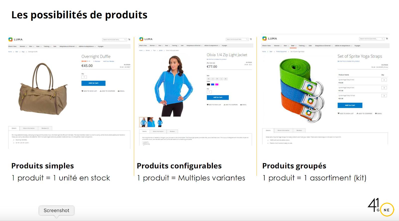 Possibilités de produits Magento