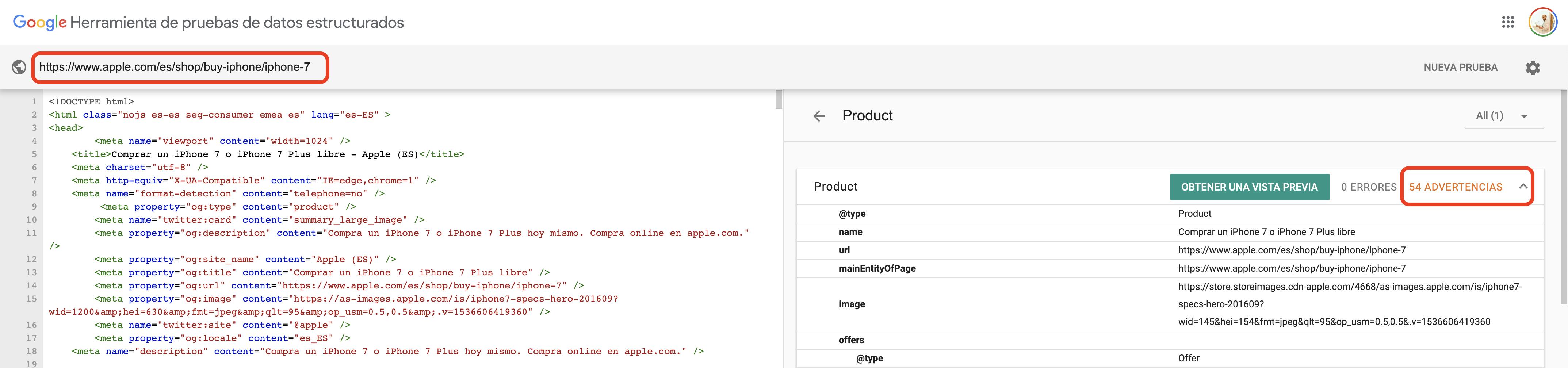 Datos estructurados incorrectos - Apple