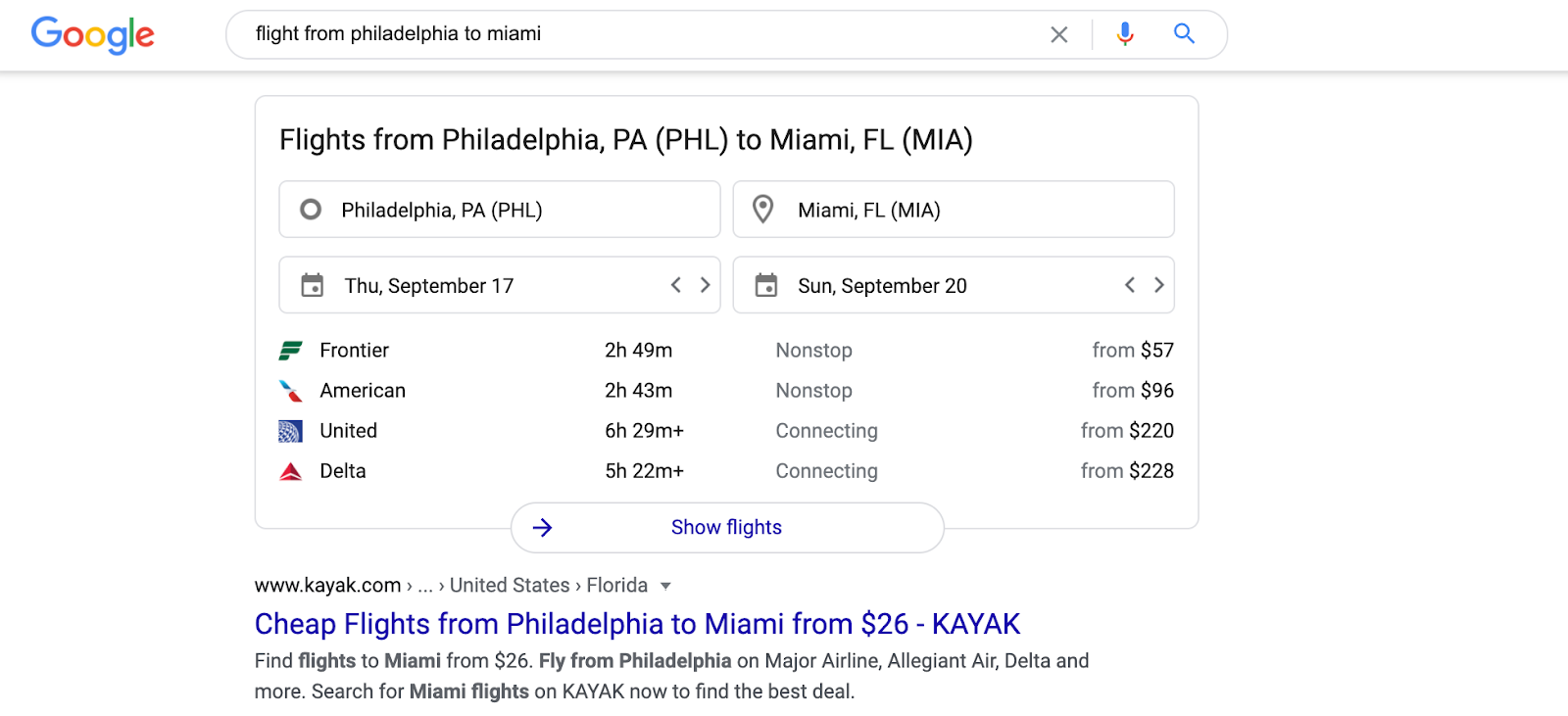 Google Flights SERP feature