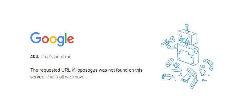 Pagina 404 di Google