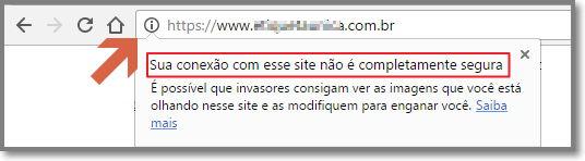 sua conexão com esse site não é completamente segura