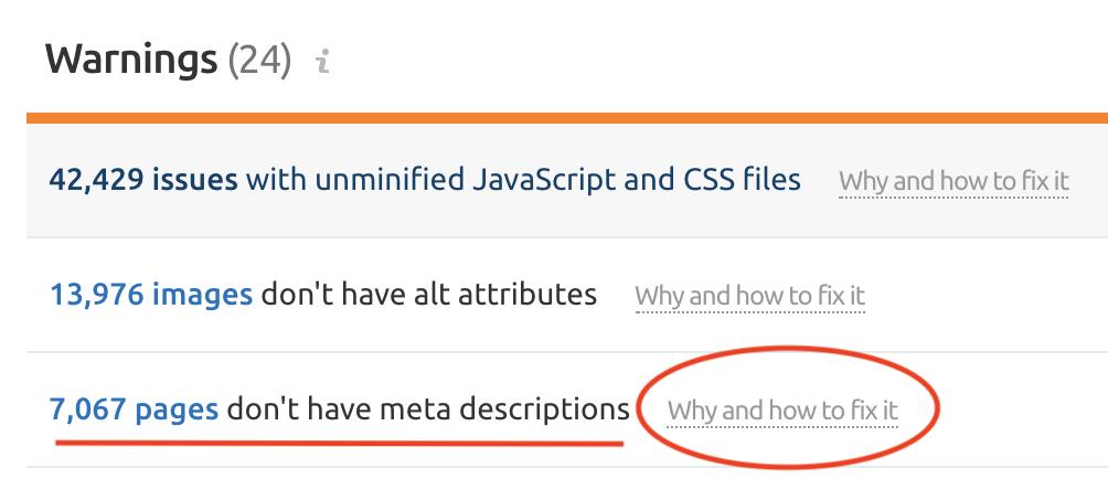 SEMrush site audit showing meta-description problems