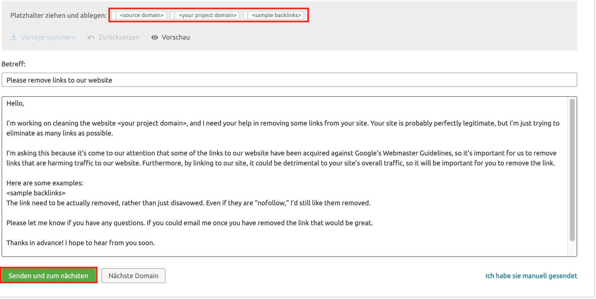 Backlink Audit: Links entfernen E-Mail-Vorlage