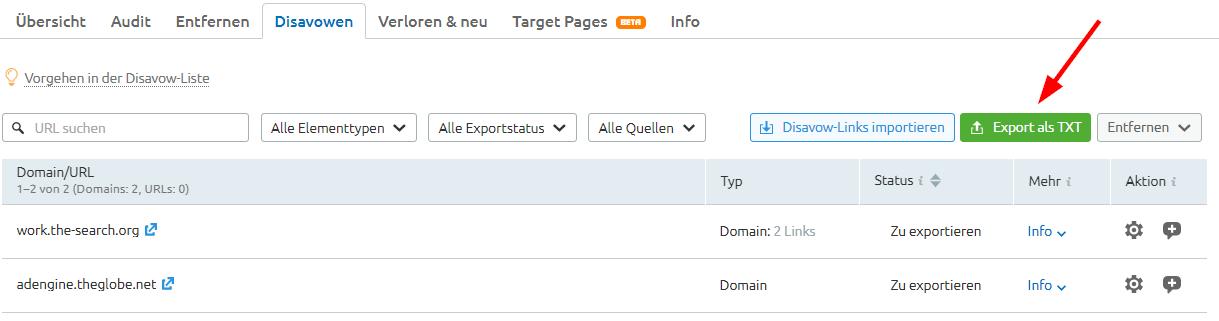 Disavow-Datei exportieren