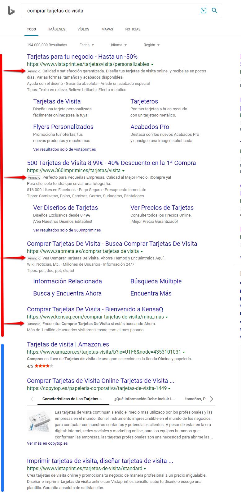 Qué es SEO - Resultados de búsqueda en Bing