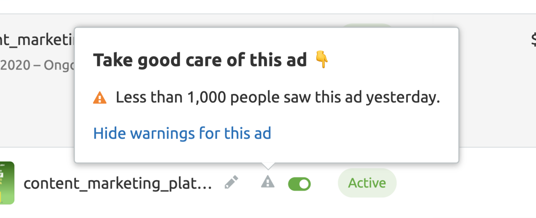 Facebook ads issues - Fewer than 1,000 people saw your ad