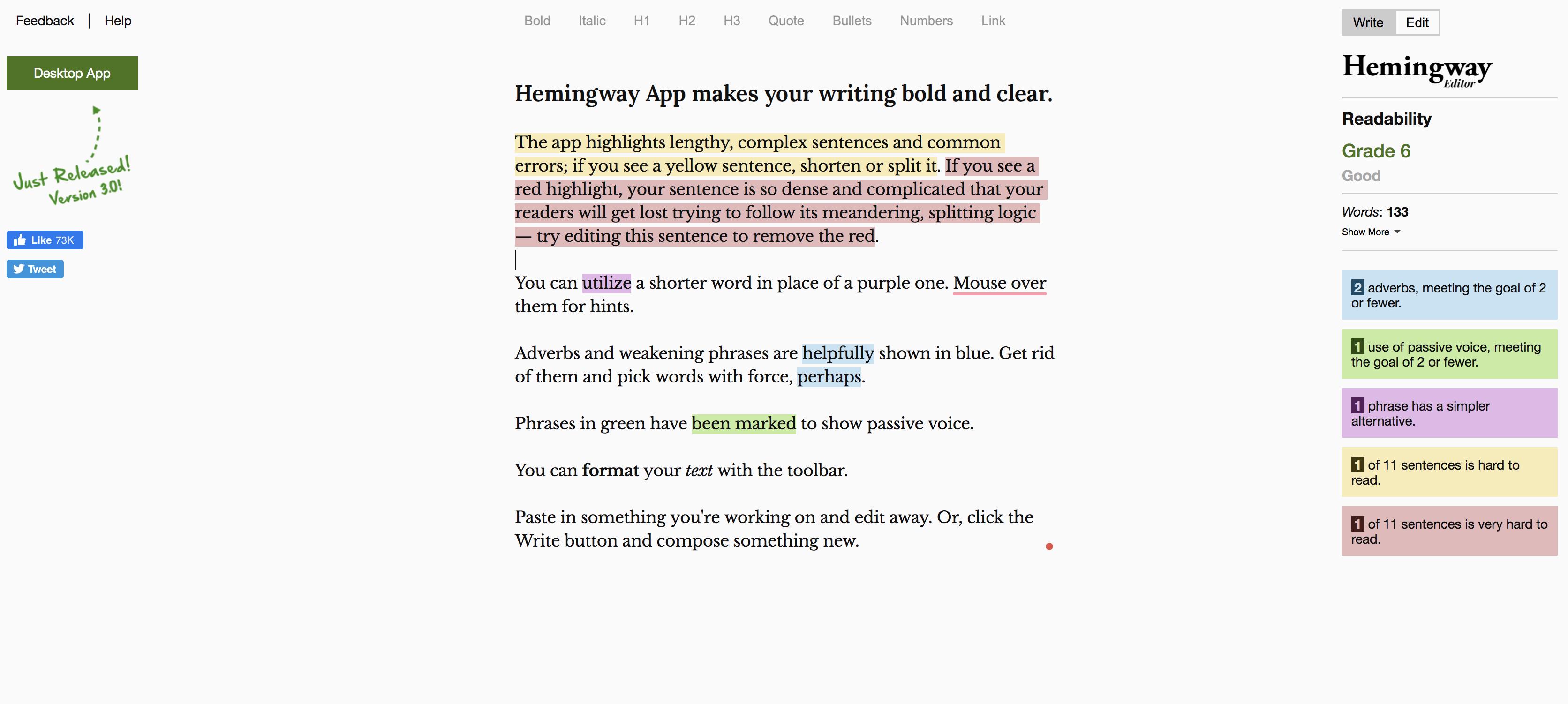 Hemingway app example