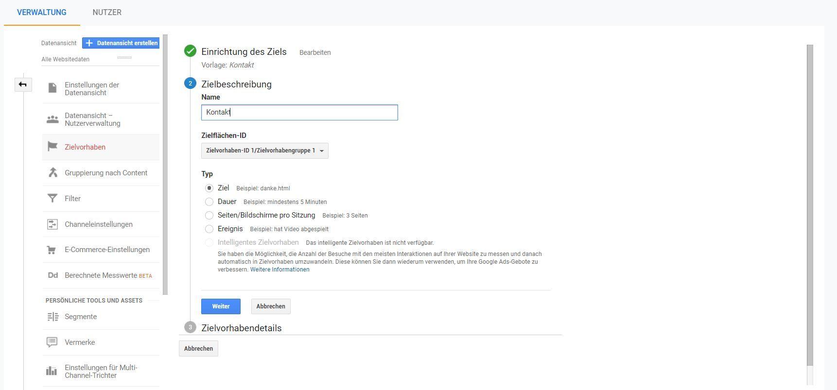 Google Analytics: Ziele definieren