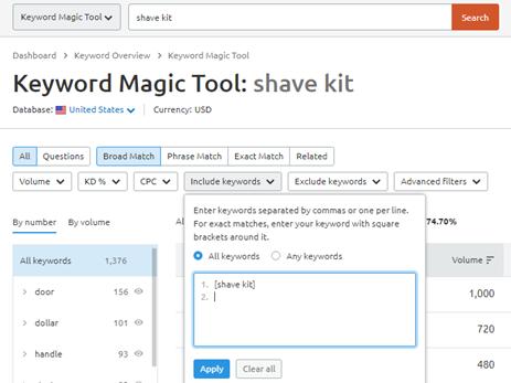 Keyword Magic Tool screenshot