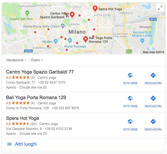 I pacchetti locali che compaiono nelle serp di google (esempio)