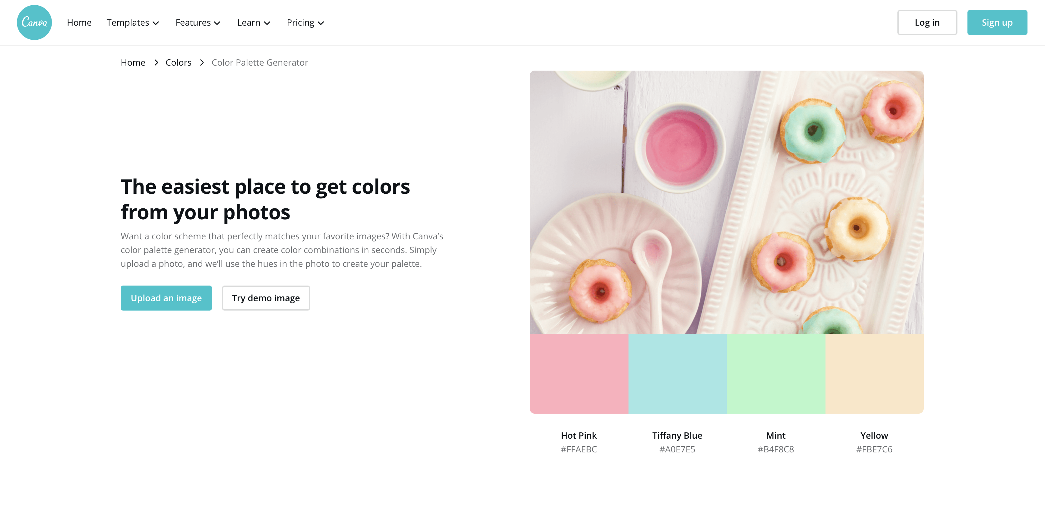 A color palette generator example from Canva