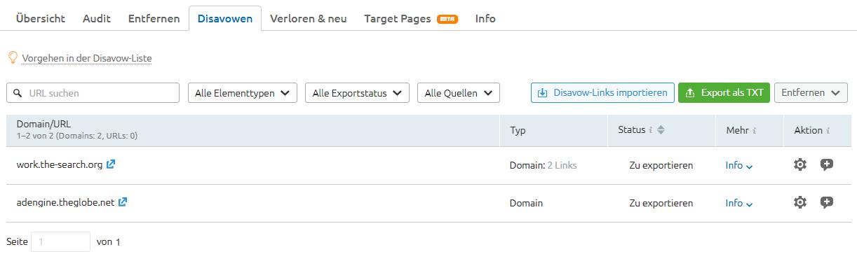 Domains auf der Disavow-Liste in SEMrush