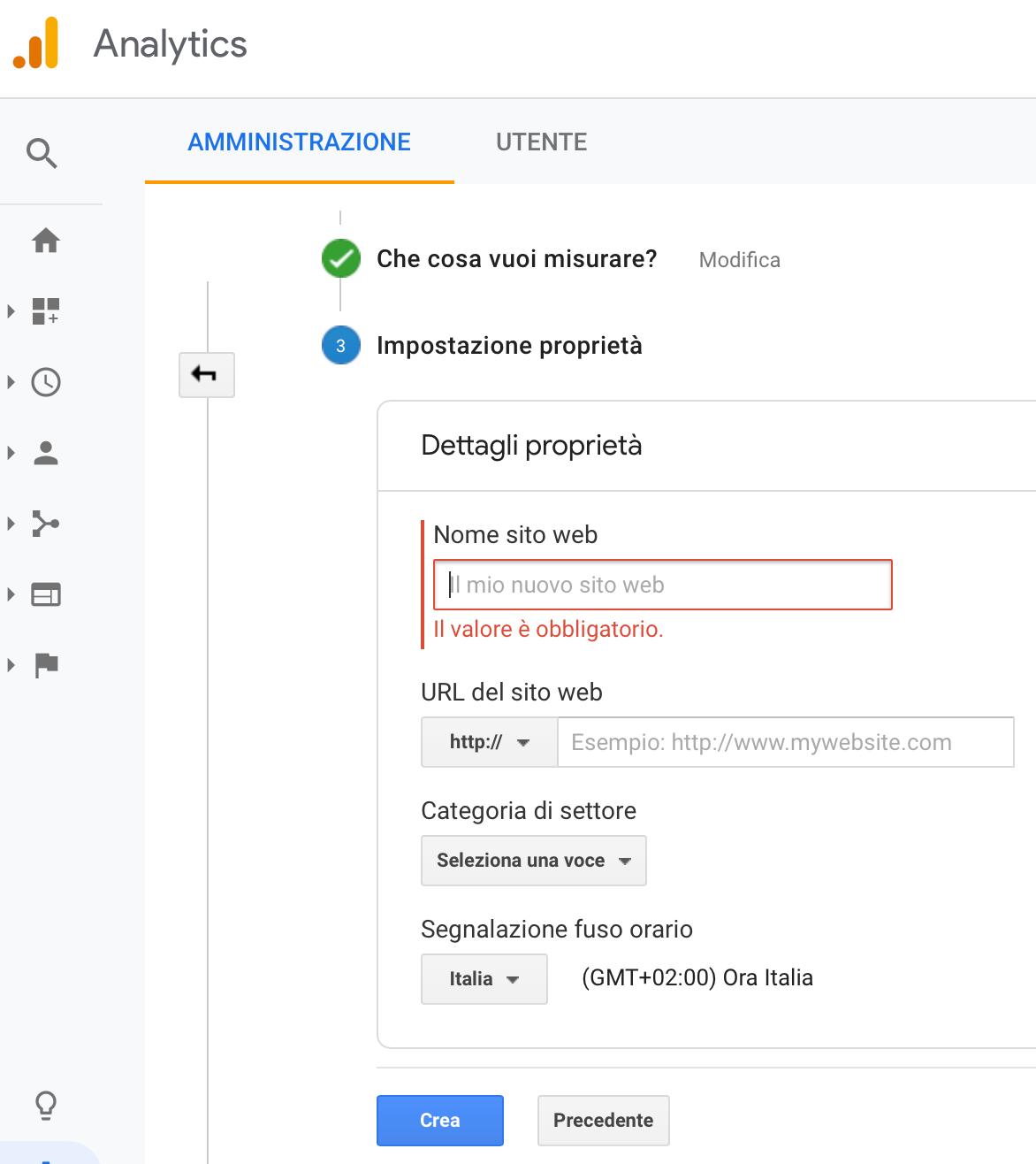 impostazione proprietà su google Analytics