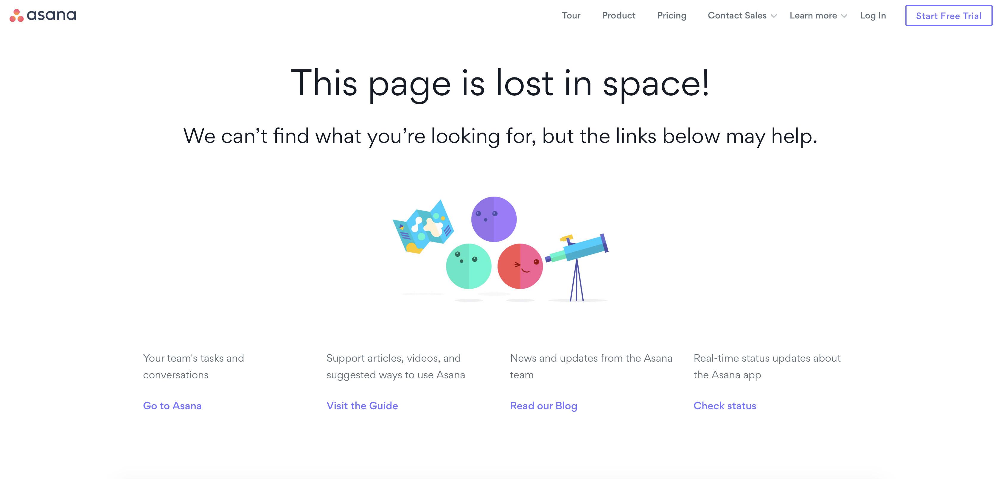 La pagina 404 di Asana: ottimo esempio di microcopy