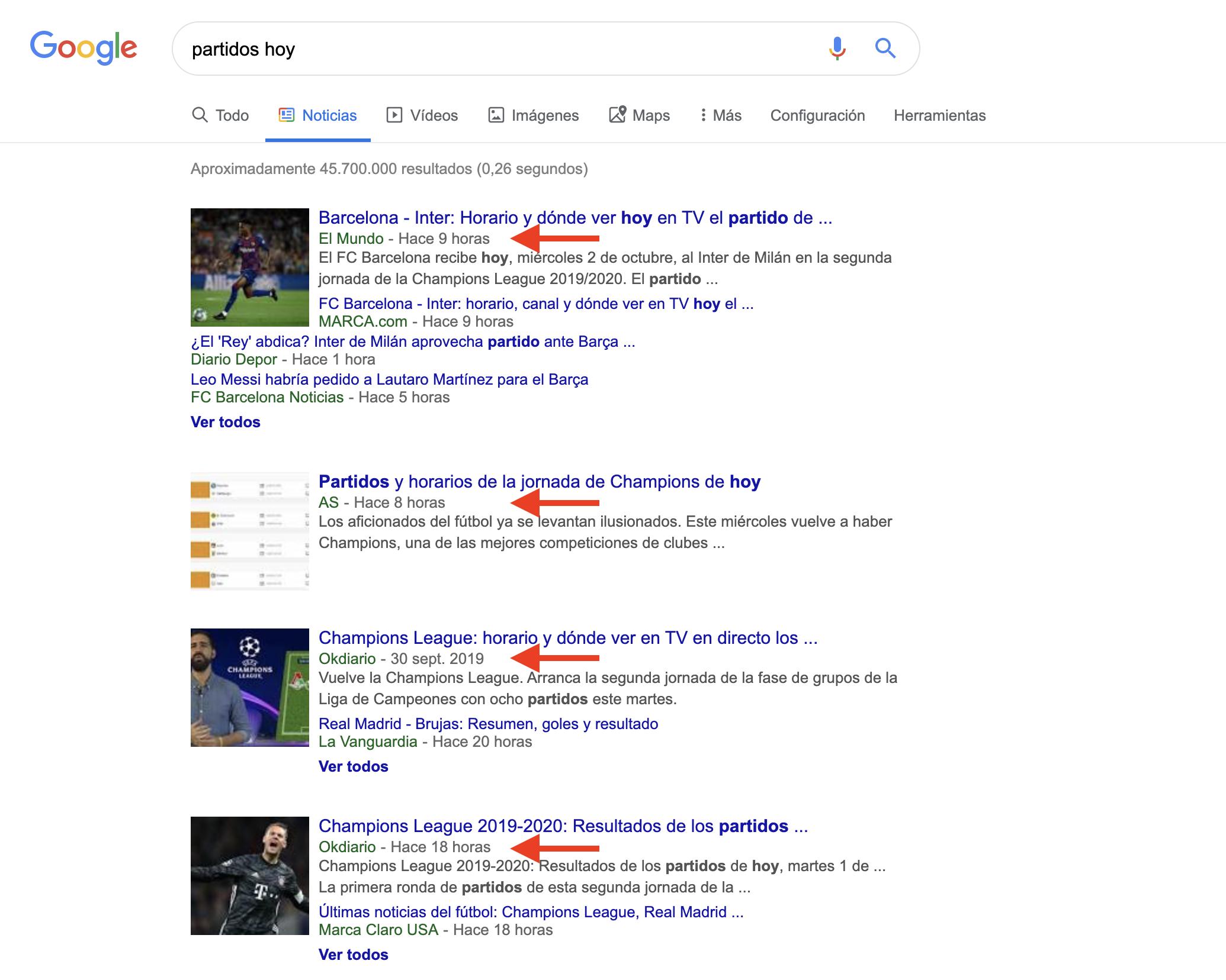 Búsqueda avanzada en Google - Sección de noticias