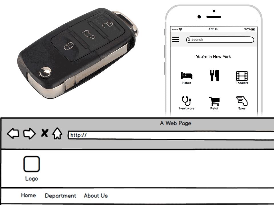 Chiavi auto, mockup di mobile UI e mockup UI su sito web