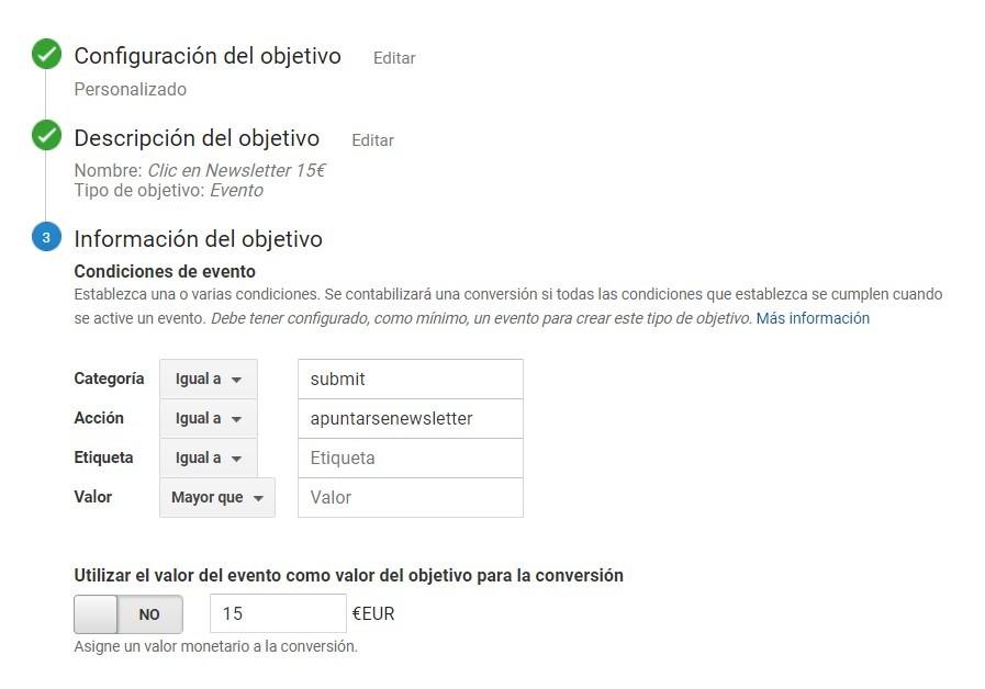 Auditoría en Google Analytics - Ejemplo de objetivos