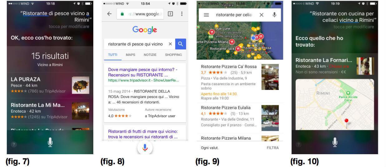 Ricerca vocale su Siri e Google per ristoranti