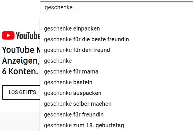 Keywords aus der YouTube-Suche