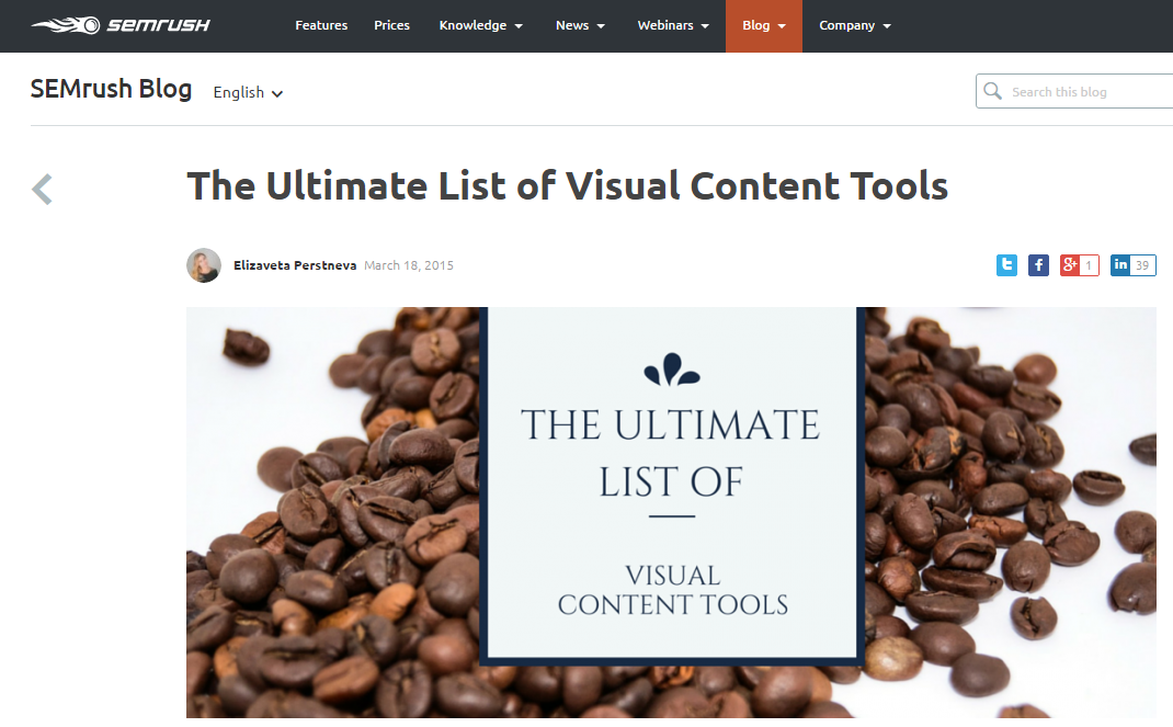 SEMRush - Ultimate List Of Visual Content Tools