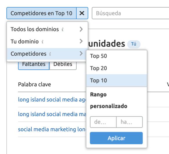 Content gap analysis - Competidores en top 10