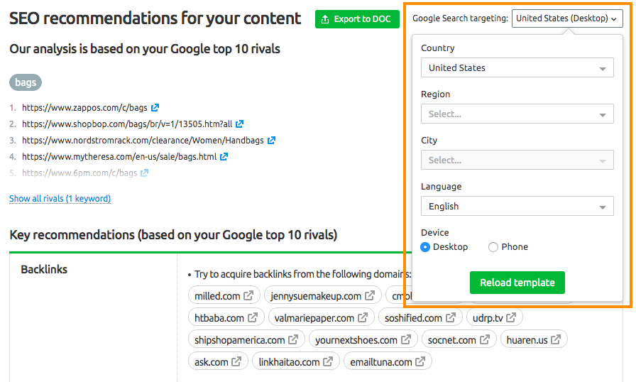 SEO Recommendations in SEO Content Template