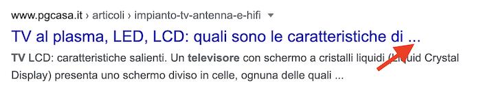 esempio di title tag tagliato da Google