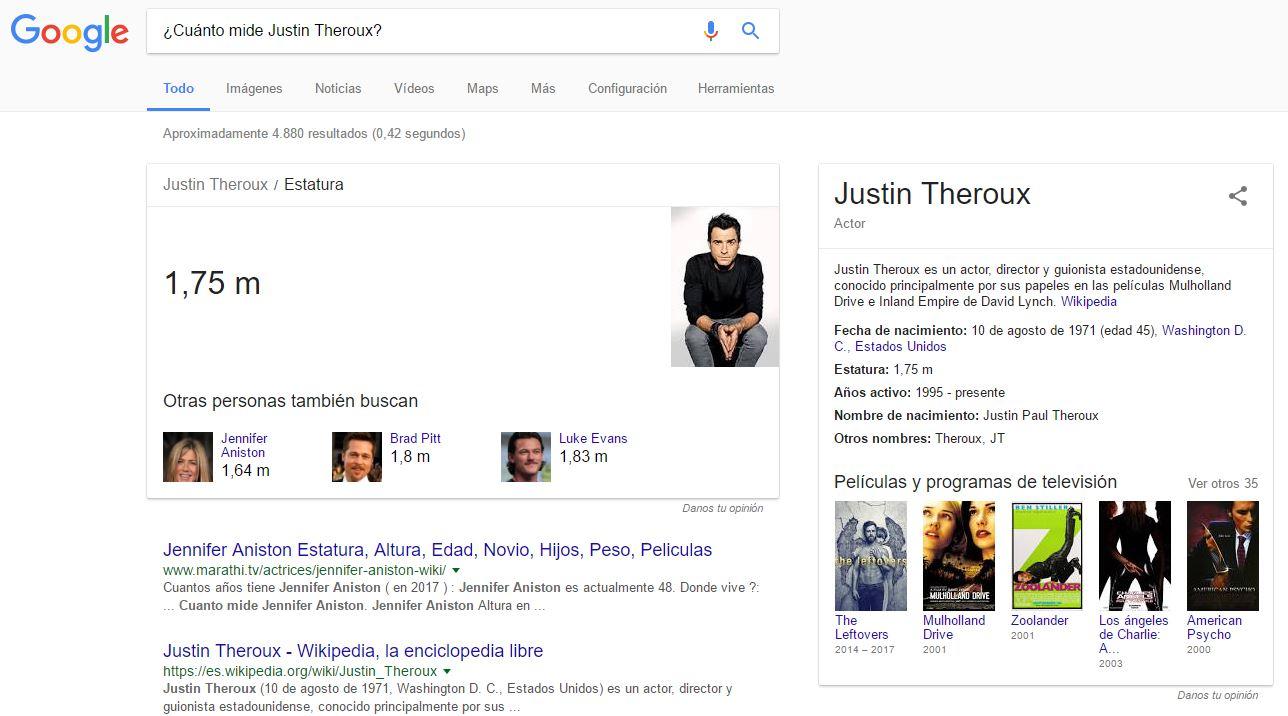 Resultados de Google que satisfacen el search intend directamente