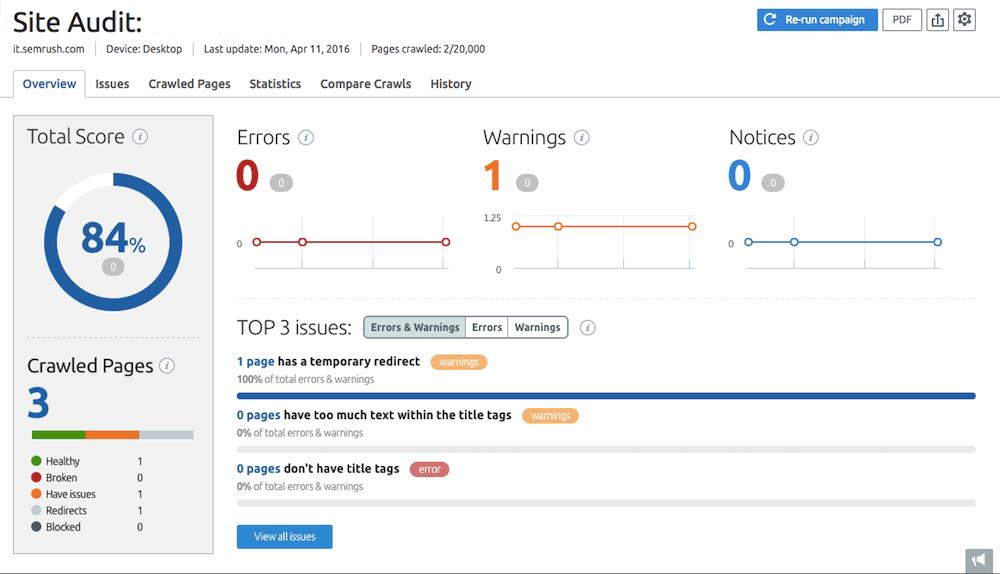 I tool per fare SEO check: Site Audit di SEMrush