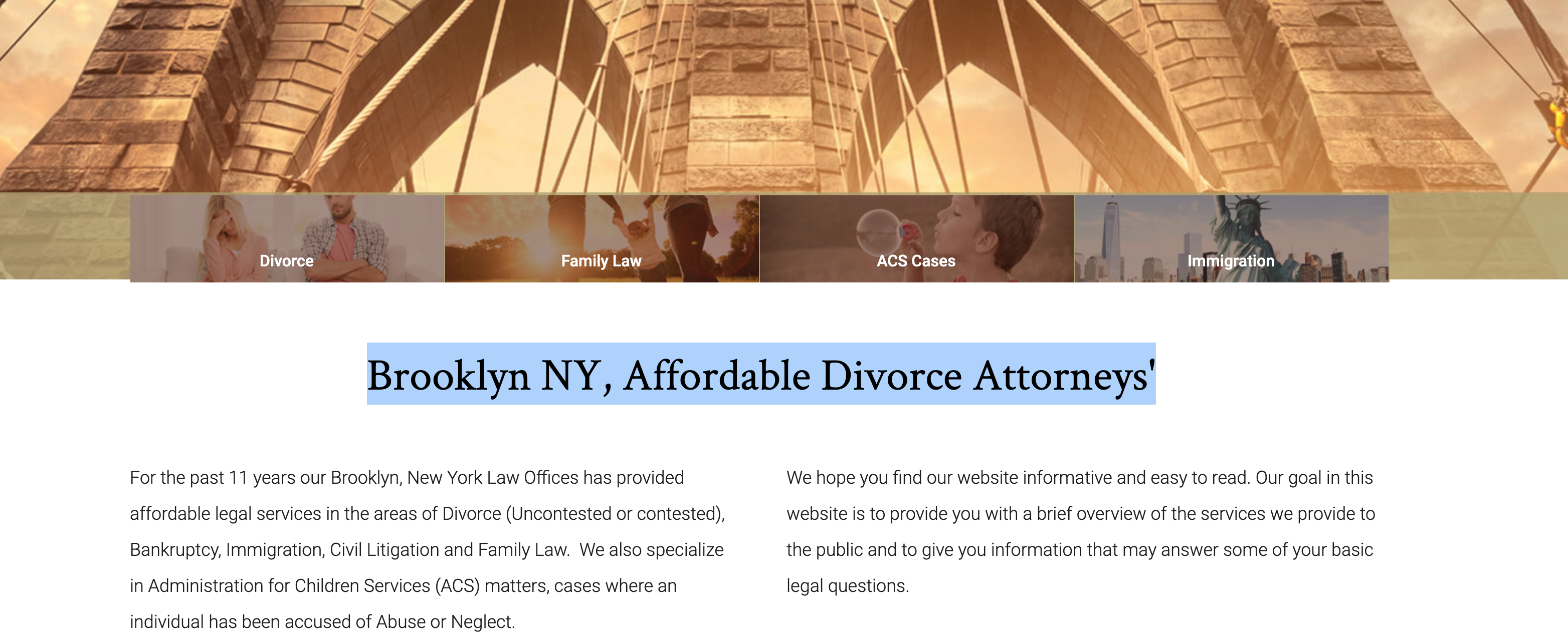 divorce attorney blog with h1 tag screenshot