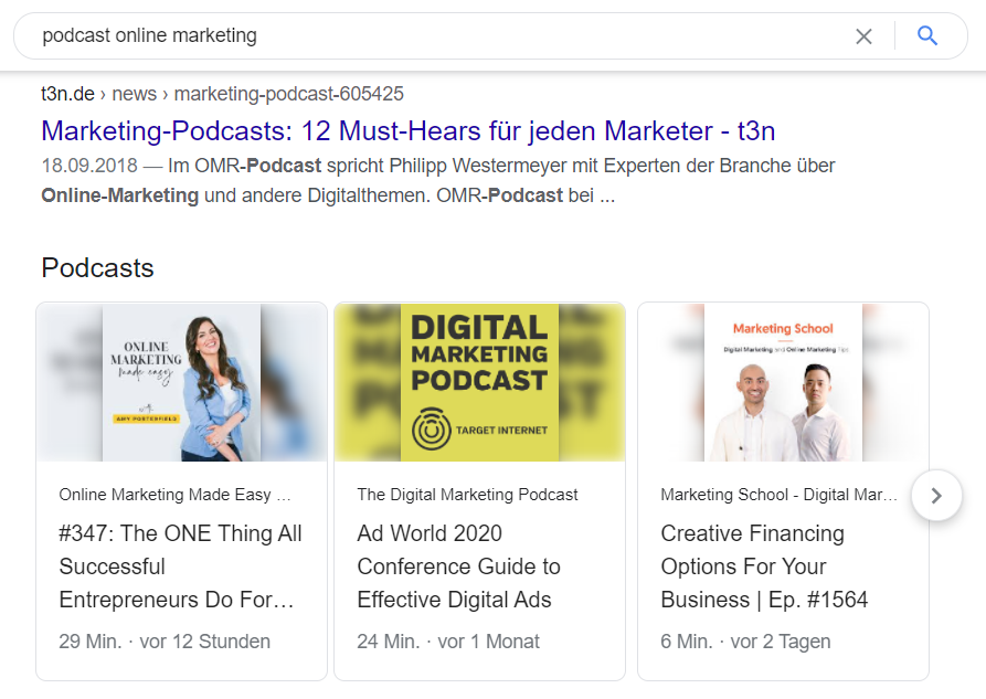 Podcasts im Google-Suchergebnis