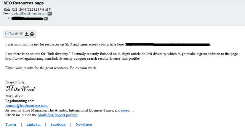 backlink building email outreach template