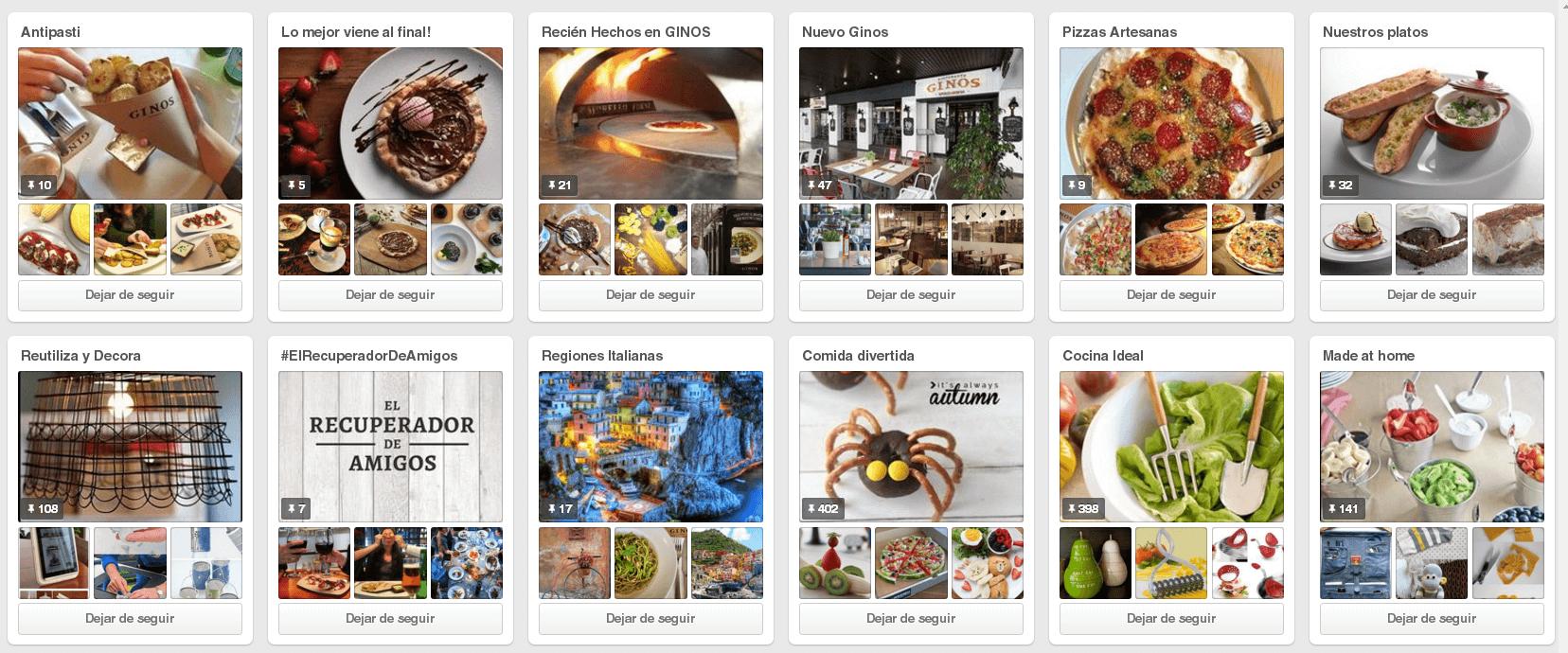 Redes Sociales para restaurantes - Buen perfil en Pinterest.