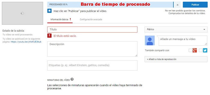 Crear canal Youtube - Subiendo vídeo a YouTube
