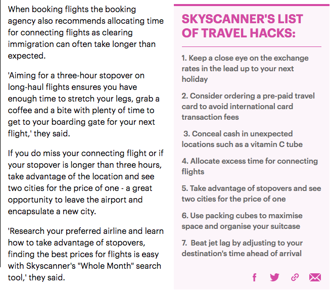Screenshot of Daily Mail article about Skyscanner's travel tips